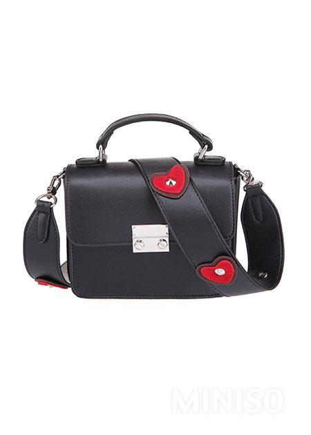 heart shaped stylish bag black miniso australia
