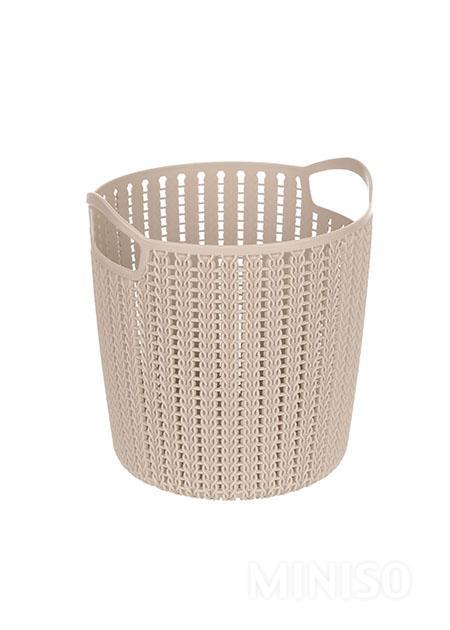 Small Size Round Braided Storage Basket   Light Grey