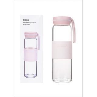 Glass Water Bottle 500ml(Pink) - MINISO Australia