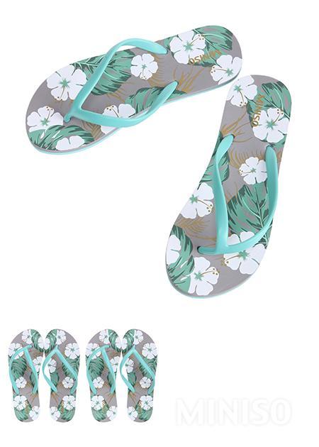 9c9e7dfe8ce42 Women s Patterned Flip Flops S36 37(Green+Grey+White)